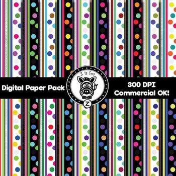 Digital Paper Pack - Dots & Stripes 1 - ZisforZebra