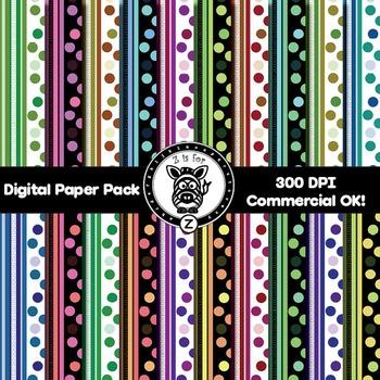 Digital Paper Pack - Dots & Stripes 2 - ZisforZebra