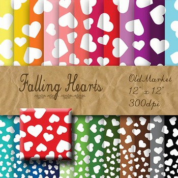 Digital Paper Pack - Falling Hearts - 24 Different Papers - 12 x 12