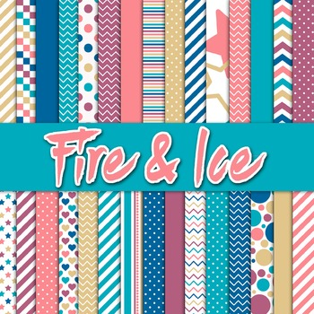 Digital Paper Pack - Fire and Ice Colors Collection - 30 P