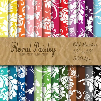 Digital Paper Pack - Floral Paisley - 24 Different Papers - 12 x 12