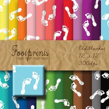 Digital Paper Pack - Footprints - 24 Different Papers - 12 x 12
