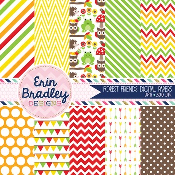Digital Paper Pack - Forest Animals in Red Green Yellow Orange Brown