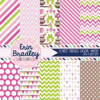 Digital Paper Pack - Forest Animals in Pink and Green
