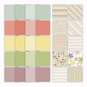 Digital Paper Pack - French Macaroons Color Collection - 30 Papers - 12 x 12