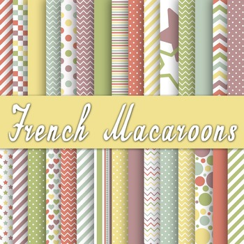 Digital Paper Pack - French Macaroons Color Collection - 3