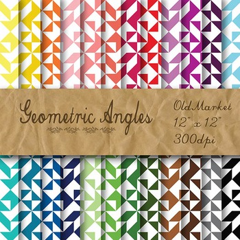 Digital Paper Pack - Geometric Angles - 24 Different Paper