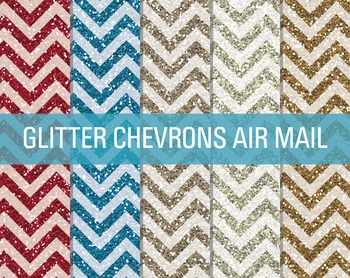 Digital Papers - Glitter Chevron Patterns Air Mail