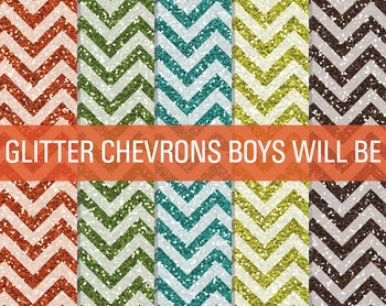 Digital Papers - Glitter Chevron Patterns Boys Will Be