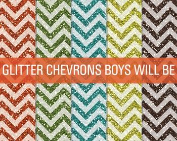 Digital Papers - Glitter Chevron Patterns Boys Will Be