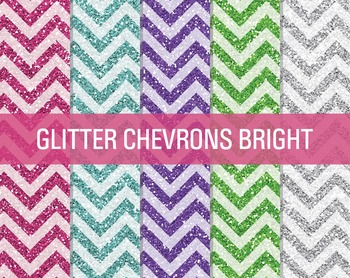 Digital Papers - Glitter Chevron Patterns Bright