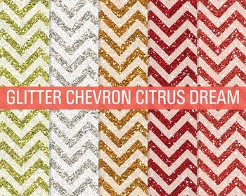 Digital Papers - Glitter Chevron Patterns Citrus Dream
