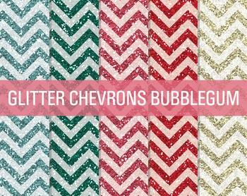 Digital Papers - Glitter Chevron Patterns Bubblegum
