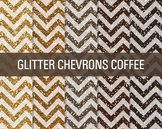 Digital Papers - Glitter Chevron Patterns Coffee