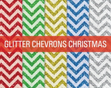 Digital Papers - Glitter Chevron Patterns Christmas
