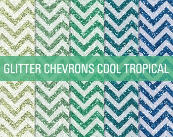 Digital Papers - Glitter Chevron Patterns Cool Tropicals