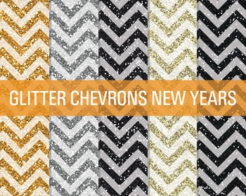 Digital Papers - Glitter Chevron Patterns New Year's Eve
