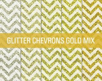 Digital Papers - Glitter Chevron Patterns Gold Mix