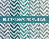 Digital Papers - Glitter Chevron Patterns Nautical