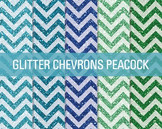 Digital Papers - Glitter Chevron Patterns Peacock