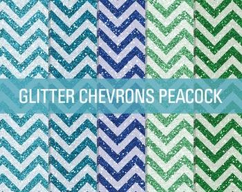 Digital Papers - Glitter Chevron Patterns Peacock