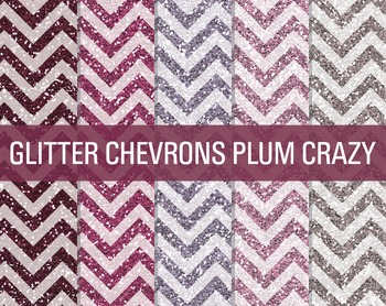Digital Papers - Glitter Chevron Patterns Plum Crazy
