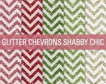 Digital Papers - Glitter Chevron Patterns Shabby Chic