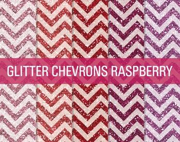 Digital Papers - Glitter Chevron Patterns Raspberry