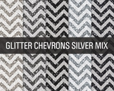 Digital Papers - Glitter Chevron Patterns Silver Mix