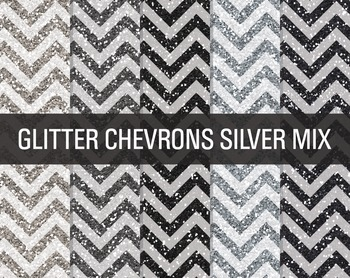 Digital Papers - Glitter Chevron Patterns Silver Mix