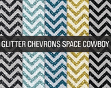 Digital Papers - Glitter Chevron Patterns Space Cowboy