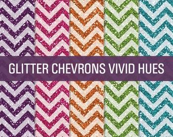 Digital Papers - Glitter Chevron Patterns Vivid Hues
