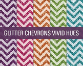 Digital Papers - Glitter Chevron Patterns Vivid Hues