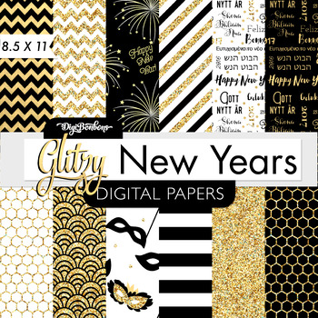 Digital Paper Pack- Glitter New Years - Digital Scrapbook- USL 8.5 x 11 Paper