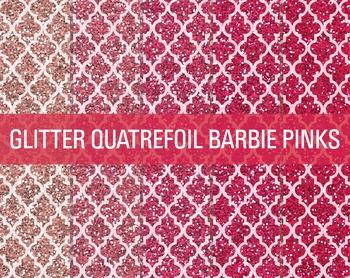 Digital Papers - Glitter Quatrefoil Patterns Barbie Pinks