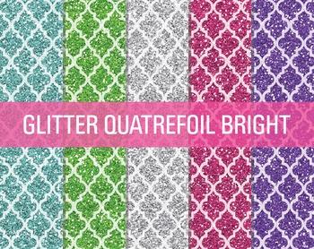 Digital Papers - Glitter Quatrefoil Patterns Bright