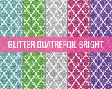 Digital Papers - Glitter Quatrefoil Patterns Bright