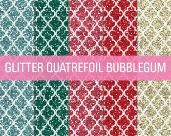 Digital Papers - Glitter Quatrefoil Patterns Bubble Gum