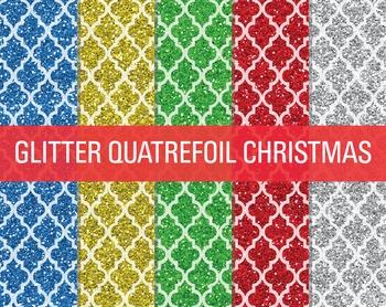 Digital Papers - Glitter Quatrefoil Patterns Christmas