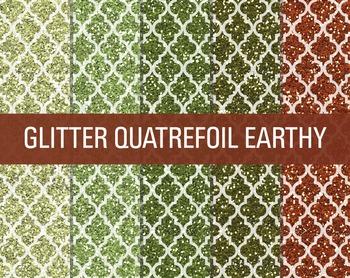 Digital Papers - Glitter Quatrefoil Patterns Earthy