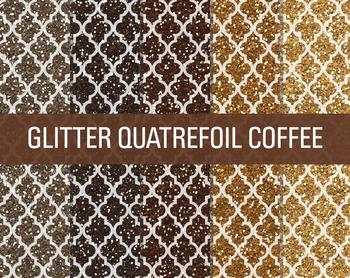 Digital Papers - Glitter Quatrefoil Patterns Coffee