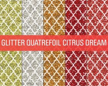 Digital Papers - Glitter Quatrefoil Patterns Citrus Dream