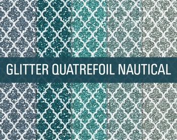 Digital Papers - Glitter Quatrefoil Patterns Nautical