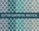 Digital Papers - Glitter Quatrefoil Patterns Nautical
