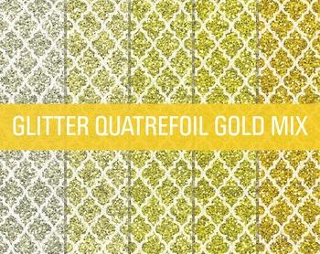 Digital Papers - Glitter Quatrefoil Patterns Gold Mix