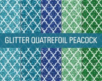 Digital Papers - Glitter Quatrefoil Patterns Peacock