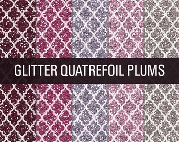 Digital Papers - Glitter Quatrefoil Patterns Plum Crazy