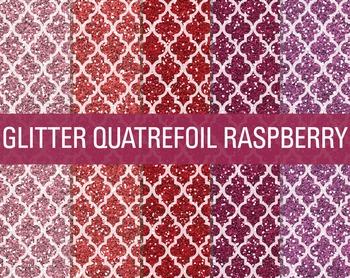 Digital Papers - Glitter Quatrefoil Patterns Raspberry