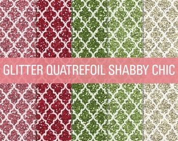 Digital Papers - Glitter Quatrefoil Patterns Shabby Chic