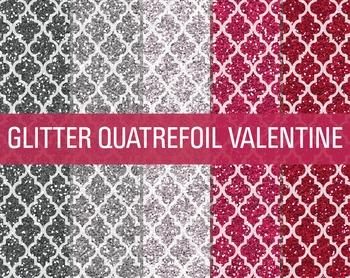 Digital Papers - Glitter Quatrefoil Patterns Valentine